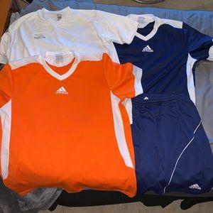 3 soccer jerseys 1 pair shorts